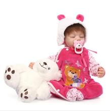 "22"" 55 cm Silicone Vinyl Reborn Baby Doll Lifelike Sleep Newborn Baby Doll Best Christmas Gift to Kid/Child/Baby Girl brinquedos"
