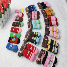 24pcs/lot 6pairs Cotton knitting wool Dog Socks Lovely Soft Warm Pet Puppy Sock for Spring, Autumn and Winter Dog Socks CW-80040