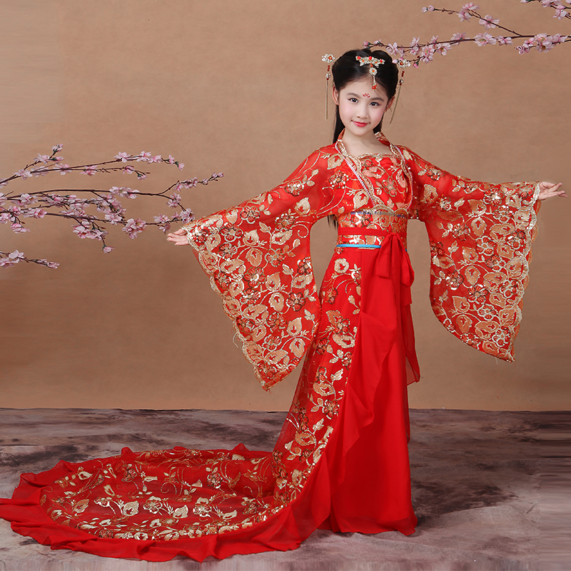 2017 autumn child chinese folk dance costume hanfu female child fairies tang suit princess dress fairies guzheng costume<br>