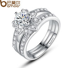 BAMOER Silver Color Couple Flower Ring Bridal Set for Women with AAA Cubic Zircon Surround Jewelry YIR037