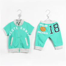 Summer Boys Girls Short Sleeve Coat Middle Pant Active Clothing Sets Kids Fashion Solid Color Dress 1990