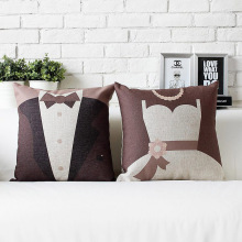 Let's get married! Lovers wedding gift Lovely  simple cotton Cushion  Linen cushionss home decorate sofa cushions