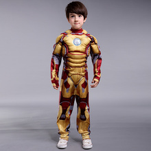 Kids Iron Man Cosplay Costume Children Halloween Cosplay Superhero Kid Suit Iron Man Muscle Costume Little Boy Mask Cosplay
