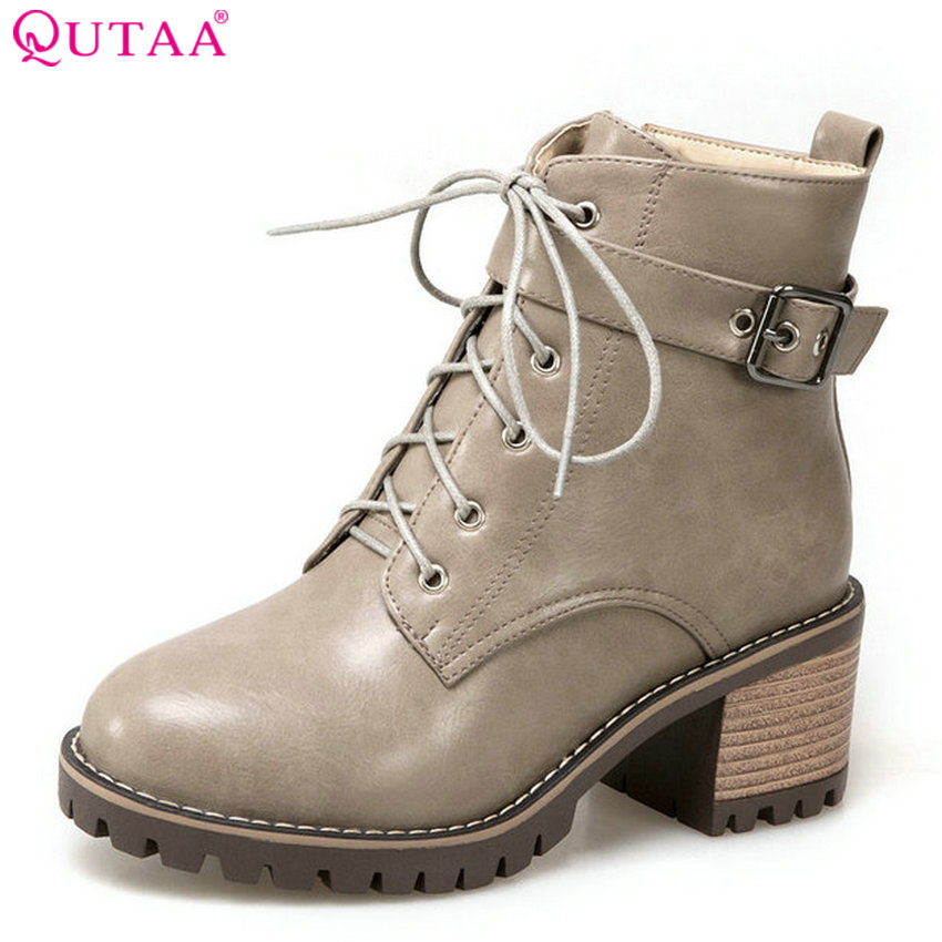 QUTAA 2018 Women Boots Lace Up Square High Heel Round Toe Westrn Style Spring/Autumn Pu Leather Women Ankle Boots Size  34-43<br>