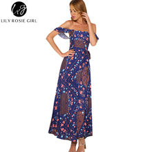 Lily Rosie Girl Women 2017 Off Shoulder Print Bow Empire Summer Dress Boho Style Short Sleeve Slash Neck Maxi Dresses Vestidos