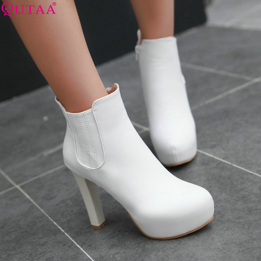 QUTAA White Black PU leather Zipper Women Shoes Round Toe Square High Heel Ankle Boots Women Motorcycle Boot Size 34-43<br><br>Aliexpress
