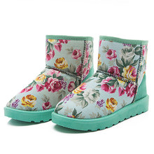 Women Ankle Printed Boots Fur Lined Winter Autumn Warm Snow Boots Shoes
