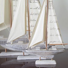 Ship Craft Wooden Sailboat Model Home Furnishing Wood Decorative Ornaments Mediterranean Style Decoration Retro Birthday Gift