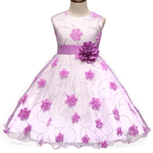 2017 New Girls Children's Princess Dress Floral Dots Wedding Gown Big Bow Tutu Dress For Baby Chiffon Girls Dresses Pink Purple