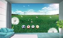 Custom 3d non-woven Wallpaper TV Backdrop wall murals The football world cup spring green football field goal 3d home decoration