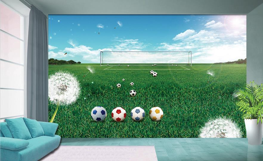 Custom 3d non-woven Wallpaper TV Backdrop wall murals The football world cup spring green football field goal 3d home decoration(China (Mainland))