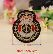 5 pcs/set 5.5*6.5cm Navy Anchor Badge Logo Embroidered Iron On Patches For Clothes Garment Applique DIY Accessory