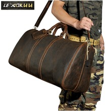 High Quality! Mens Genuine Real cowhide Leather Duffle Travel Luggage Suitcase Messenger Shoulder Tote Bags 3264(China)