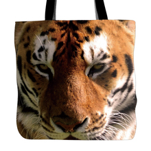 King Tiger Printed Tote Bag For Shopping Food Convenience Women Shoulder White Canvas Hand Bags Two Sided Printing