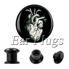 Wholesale Vintage Heart plug gauges acrylic screw ear plug flesh tunnel piercing body jewelry(China)