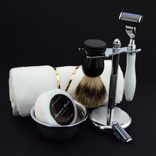 7pcs 3 Layer Razor Refill Cartridges+Stand+Brush+Bowl+Soap+Towel+Towels Holder