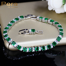 Pera 8 Color Options Square Created Green Crystal Stone Bracelet For Ladies 925 Sterling Silver Women Wedding Jewelry B023(China)