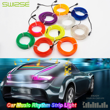 3 Meters/PCS Car Music Rhythm Atmosphere Strip Light Lamp Car Sound Control Flash EL Cold Light Car Door,Dash Board Decoration(China)