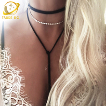 cross pendant neklace women long statement necklace simulated pearl fashion jewelry velvet chockers maxi collier ras de cou