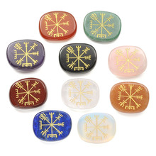New 1  pc Chakra Stones - Oval Healing Crystal Stone Sandblasted Viking Compass Vegvisir Symbol treatment Jewelry Have 10 Colors