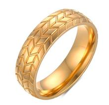 gold old Plated Classal Design Vintage Personality Men Ring Racing Tire Shape Veins Wide Stainless Steel Ring Top rade(China)