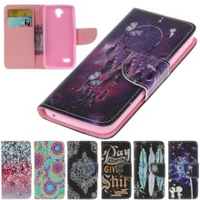 For Case Huawei Y560 Y5 Phone Wallet Cover Cases Soft Shell Capinha Coque Funda Tower Feather Lace Blue Butterfly Stars Dreaming