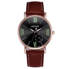 MIGEER 2017 Hot Sale Luxury Fashion Crocodile Faux Leather Mens Analog Watch Wrist Watches Apr 18