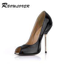 RBOWLOVER 2018 Women Peep Toe Pumps New Arrival Spring Patent Leather Material Matel Gold High Heels Sexy Party Shoes(China)