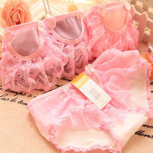 Buy new arrived teenage gir underwear 6pc/bag lace net cotton candy solid briefs young girls panties pants wholesale