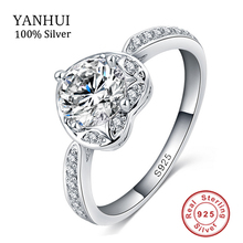 Romantic Love Heart Ring Real 925 Silver Rings Micro Pave Clear AAA CZ Diamant Forever Wedding Rings For Women RX001