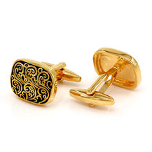 Vintage Engravable Gold-color Cufflinks Men Cuff Links Luxury Unique Mens Gifts(China)