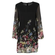 Women 2017 Summer Long Sleeve Floral Print Chiffon Dress Casual Style Beach Elegant Ladies Dresses(China)