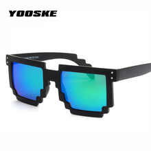 YOOSKE Women Men Sunglasses Retro Mosaic Boys Girls Sun Glasses Brand Desinger Thug Life Glasses Pixel