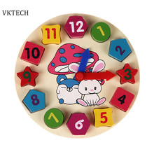 Baby Toys 12 Number Wooden Toys Puzzle Digital Geometry Clock Educational Wooden Toys For Kids Children Wood Toy
