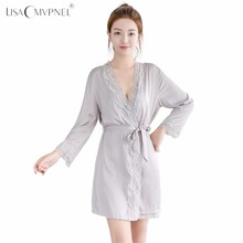 Lisacmvpnel 1 Pcs Lace Sexy Women Robe Soft Breathable Bathrobe Loose Female Sleepwear(China)