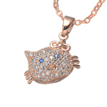 The Most Wonderful 22*15mm Zircon Pendants Necklaces CZ Cute Cat Head Micro-Inlay Blue Zircon Eyes Design Fashion Lady Ornaments(China)