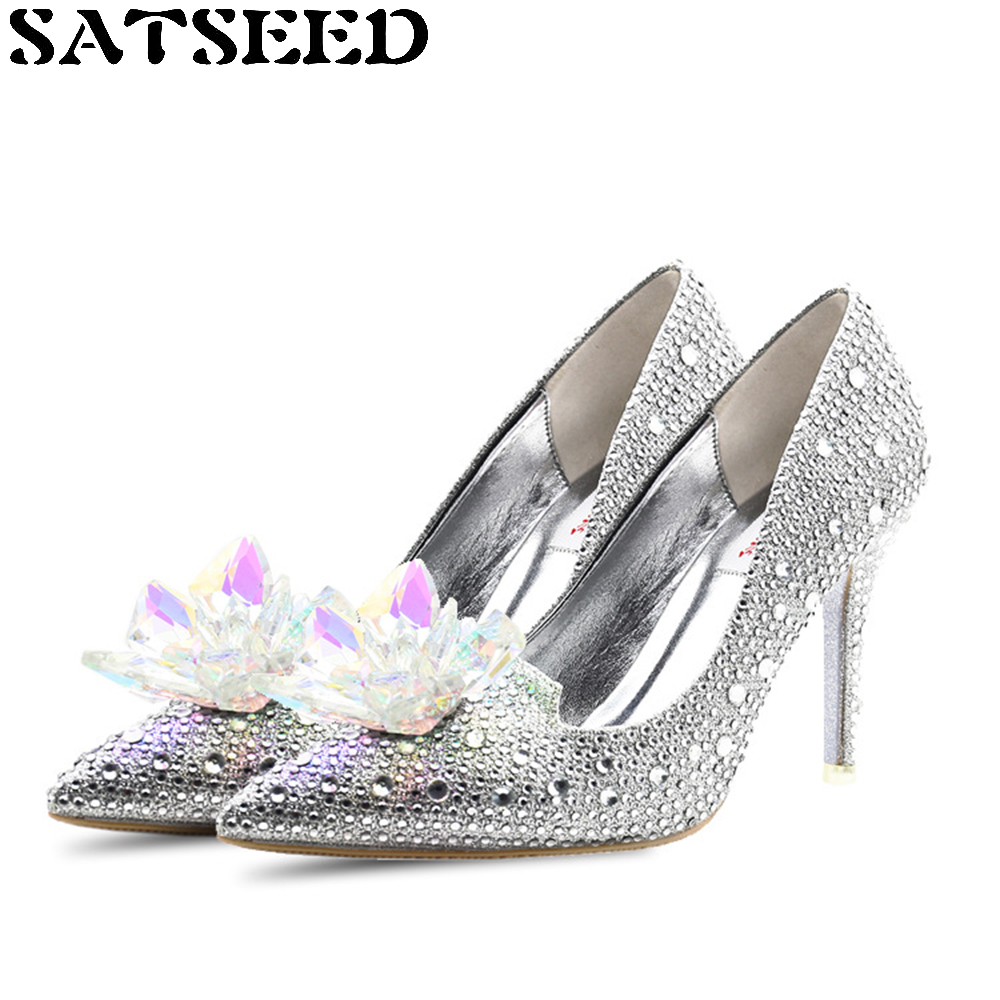 New Wedding Pumps Diamond Cinderella Crystal Shoes Europe The United States High Thin Heels Newly Womens Shoes Bling Fashion<br>
