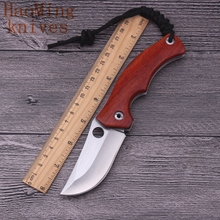 Portable outdoor folding knife 7CR15MOV red rose wood handle tactical combat rescue survival camping knives EDC pocket tool gift(China)