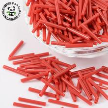 200Pcs Red Tone Opaque Colours Rainbow Glass Bugle Beads, 15x2mm, Hole: 1mm