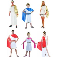 Greek Goddess Clothing Elegant Queen Cosplay Carnival Halloween Costumes for Women Men Kids Fancy Dress Decoration