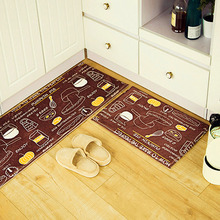 Brown Breakfast Food Design Suede Floor Mat 3 Kinds Different Size Anti-slip Rugs Kitchen Bathroom Carpet
