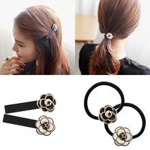 Luxury Rose Flower Clips Rubberbands 2016 New Black White Hair Accessories Barrette Fashion Girls Women OL Student Free Shipping