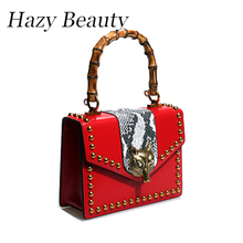 Hazy beauty New bamboo top handle women bag super chic animal head buckle lady messenger bags fashion design stylish bags DH615