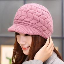 Lowest shipping Promotions Korean Ms. autumn winter knitted hat rabbit fur hat to keep warm double plus thick velvet ear cap(China)