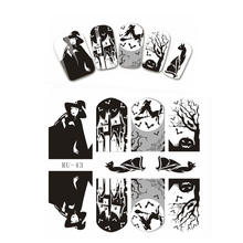 1X  Nail Sticker HALLOWEEN WITCH BLACK CAT BIRD PEONY BUTTERFLY CHURCH CHAPEL RU043-048