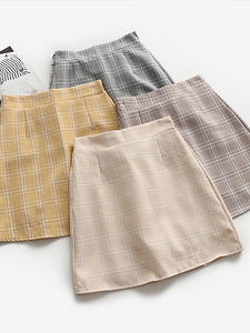High-Waist Skirt Clothing Female Vintage College Casual Korean Women Ladies Kawaii Ulzzang