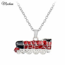 MQCHUN Hogwarts Express Engine Pendant Train Necklace Blue Car Necklace For Men Women Movie Fans Birthday Xmas Gift Jewelry(China)