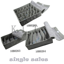 3PCS/set hot sell bamboo charcoal  zakka Dustproof cover free folding storage box for clothing underwear sock necktie organizer