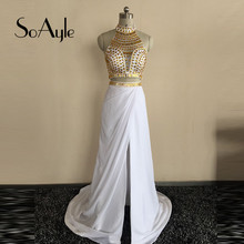 SoAyle High Neck Gold Crystals Chiffon with Open Leg White Prom Dresses 2016 vestidos de gala formatura curto