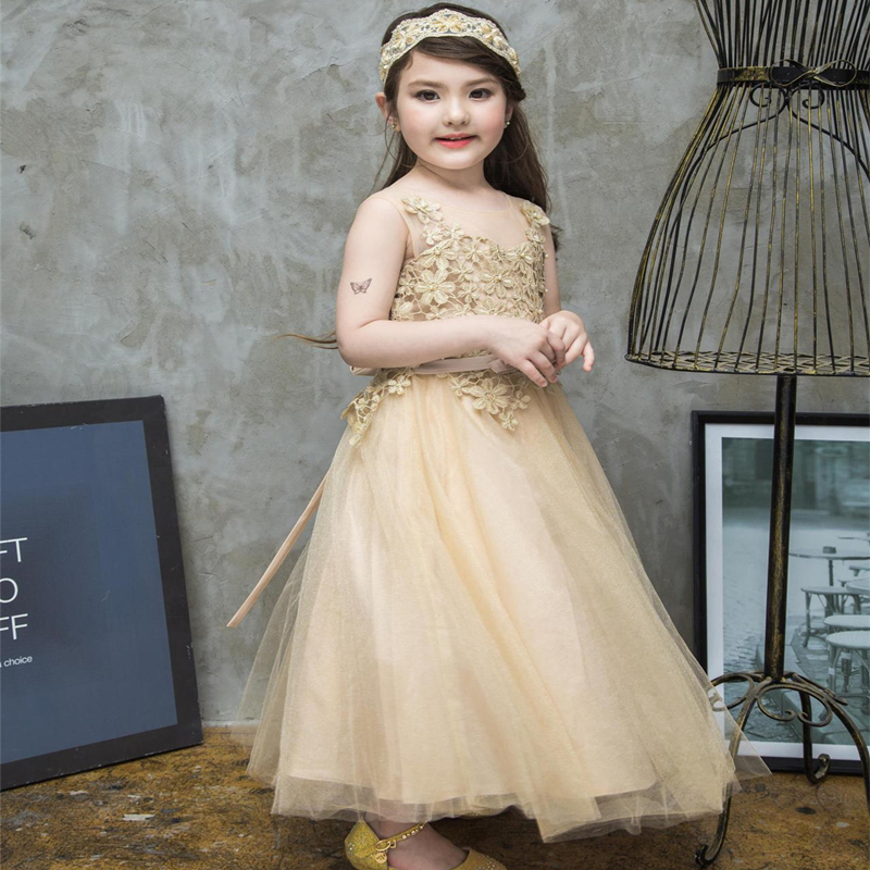 Toddler Girls 2017 Summer New Childrens Day Sleeveless Lace Flowers Show/Performance Princess Noble Christening Formal Dress<br>